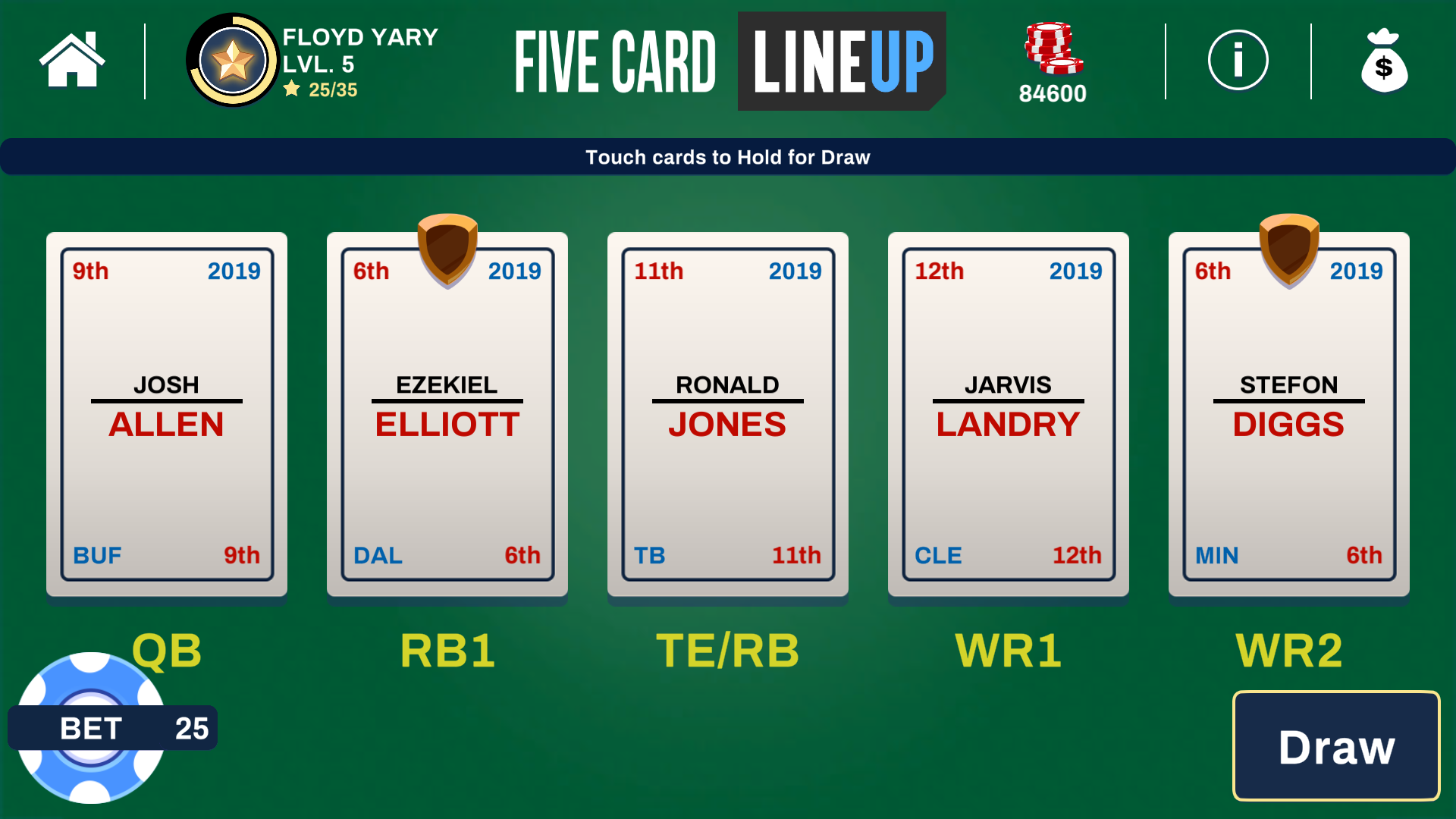 Five Card Lineup Casino Game